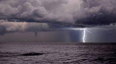 storm at sea:  thunderbolt storm + waterspout - genova, italy