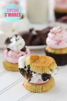 Cupcake S'mores recipe.  Up your S'mores game by using CUPCAKES instead of Graham Crackers. These Cupcake S'mores are the best S'mores ever!