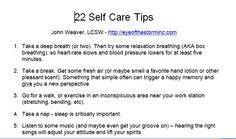 Being a helping person takes a physical and a psychological toll on the helper. Sadly, many caregivers do not practice basic self care. Save yourself for the long haul. Use these 22 self care tops and share them with your clients and coworkers.   This tip sheet and several other documents and forms are available from EOTS. Click the associated link to view/download them.
