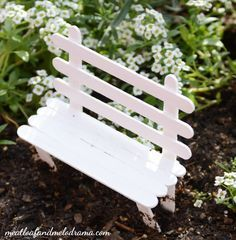 DIY fairy garden popsicle stick bench