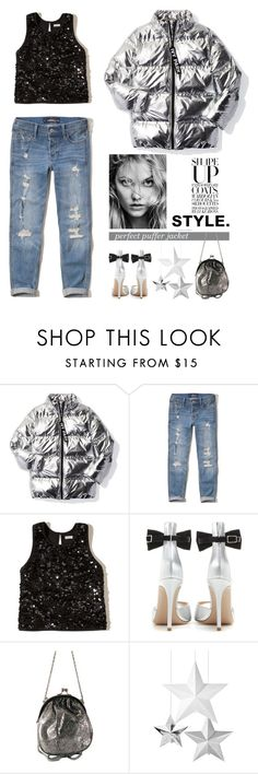 """""""Perfect puffer jacket"""" by mcheffer ❤ liked on Polyvore featuring Ivy Park, Hollister Co., Gianvito Rossi and puffers"""