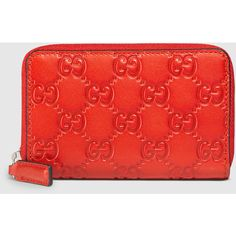 Gucci Leather Gg Zip Around Card Case ($240) ❤ liked on Polyvore featuring bags, wallets, card cases, coral red, small leathergoods, genuine leather wallet, real leather wallet, leather zip around wallet, red bag and leather card holder wallet