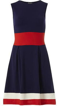 Dorothy Perkins Navy Navy round neck skater dress with red waist line and ecru and red trimming. Length 100cm. 95% Cotton,5% Elastane. 30 degree machine wash. Wash dark colours separeatly. Do not soak cool iron on reverse. - £24 at ClothingByColour.com