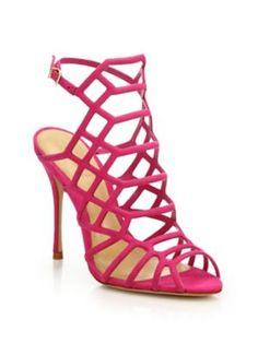 SCHUTZ Juliana Suede Caged Sandals. #schutz #shoes #