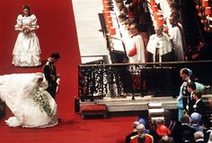 Princess Diana's first curtsy to the Queen as the Princess Of Wales during the wedding ceremony at St Paul's Cathedral.