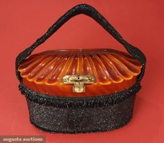 Carnival Glass & Bakelite Purse, 1930s, Augusta Auctions, October 2007 Vintage Clothing & Textile Auction, Lot 298