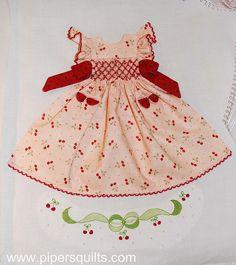 Cherry Smocked Dress Block by pipersquilts, via Flickr