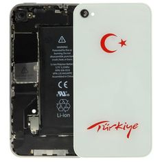 The Turkey Flag Style Replacement Glass Back Cover for iPhone 4(White)
