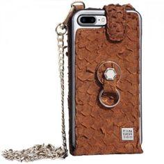Funda iPhone 8 Plus elegante piel de tilapia marrón. Finger 360 #funda #tilapia #anticaidas #anillo #Finger360 #piel #marron #8plus #iphone8