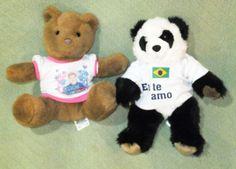"2 Build A Bear PANDA 15"" with T Shirt & 12"" Brown Tan TEDDY Bear Plush Stuffed  #BuildABear #BirthofaBabyGirl"