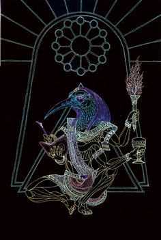 Thoth* The keeper of scared lore . . . unfolds the past, present and future . . . 2010 Metallic Gel Pen on Illustration Board *To the Egyptians, Thoth is the divine scribe and patron of learning