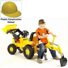 Kettler 813001 CAT Frontloader with Backhoe Yellow Plastic Construction Helmet
