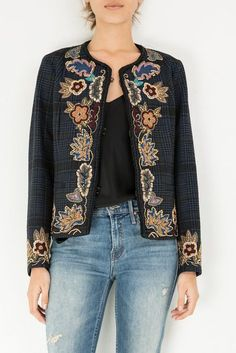 Cotton, Viscose, Polyester Color: Multi Embroidered through out Model is and wears a size Thai Fashion, Diy Fashion, Love Fashion, Fashion Dresses, Womens Fashion, Embroidery On Clothes, Embroidered Clothes, Embroidered Jacket, Chanel Style Jacket