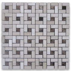Crema Marfil Target Pinwheel Mosaic Tile w/ Emperador Dark Dots Polished -  $ 11.99 / sheet