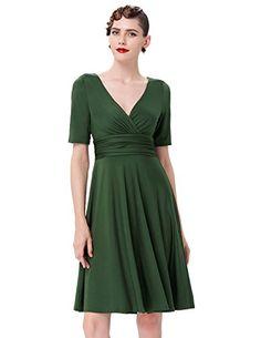 362c03e1972 Summer Style Party Women Dress Short Sleeve Deep V neck Gown Knee Length  Vintage Rockabilly Dresses With Belts 2016. Rockabilly Clothing · grace  karin ...