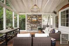 Screened Porch and Garage Oasis - The Porch Company Outdoor Rooms, Outdoor Living, Outdoor Kitchens, Outdoor Patios, Backyard Patio, Outdoor Decor, Porch Kits, Porch Ideas, Pergola Ideas