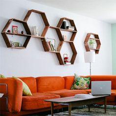 DIY Honeycomb Shelves. (via a beautiful mess)