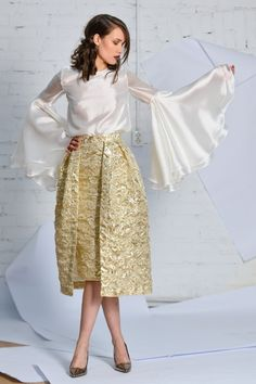 golden brocade skirt