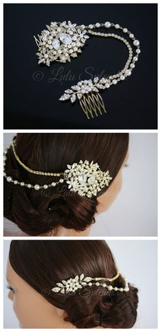 Gold Wedding Headpiece Bridal Hair Accessory Beaded Hair Piece Swarovski Crystal Pearl Bridal Hair Chain AMBRIA HP