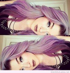 Long purple hair and make-up