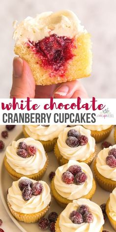 Vanilla cupcakes, filled with homemade cranberry filling and topped with a swirl of white chocolate frosting -- the perfect festive holiday treat! #cranberry #thanksgiving #christmas #cupcakes #dessert | cranberry recipes | christmas recipes | cupcake recipe Cookie And Cream Cupcakes, Yummy Cupcakes, Vanilla Cupcakes, Easy Cupcake Recipes, Dessert Recipes, Desserts, Mini Cakes, Cupcake Cakes, White Chocolate Frosting