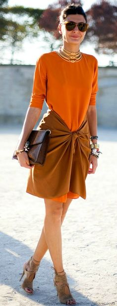 Burnt orange and rust tones. For inspiration on how to wear them check http://dresslikeaparisian.com/how-to-wear-rust-color/
