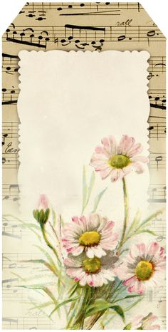 Bright-eyed Daisies ~ tag 5, featuring pink daisies and French sheet music.