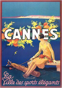 Cannes ~ Fine-Art Print - Vintage European Travel Art Prints and Posters - Vintage Travel Pictures Harlem Renaissance, Vintage Advertisements, Vintage Ads, Vintage Golf, Style Vintage, French Vintage, Festival Photo, Film Festival, Caricature