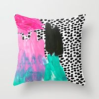 Throw Pillows featuring BAM! by Bouffants and Broken Hearts