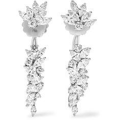 Yeprem Yeprem - 18-karat White Gold Diamond Earrings - one size (15,760 CAD) ❤ liked on Polyvore featuring jewelry, earrings, 18 karat gold jewelry, white gold earrings, diamond jewelry, white gold jewelry and diamond jewellery