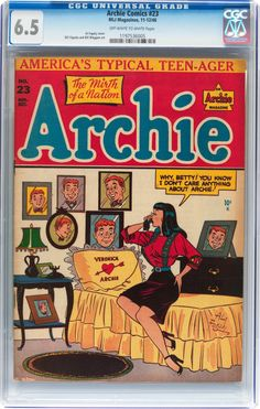 Archie Comics (Archie, CGC FN+ Off-white to white pages. Cover by Al Fagaly. Overstreet 2013 FN - Available at Sunday Internet Comics Auction. Archie Comics Characters, Archie Comic Books, Old Comic Books, Vintage Comic Books, Vintage Comics, Comic Book Covers, Comic Book Characters, Ghibli, Archie Betty And Veronica