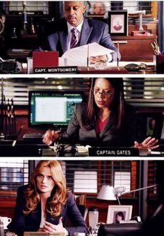 """Captains<<< I just noticed how Montgomery's and Gates both have """"Captain"""" in front but Beckett's is just """"Katherine Beckett"""" because instead of sitting in the office handing out orders, she is part of the whole team and is the detective she always has been"""