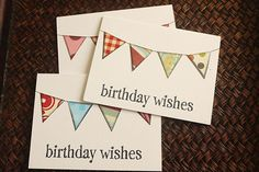 Birthday Card Set White Assorted Bunting Hand Stamped 3x4