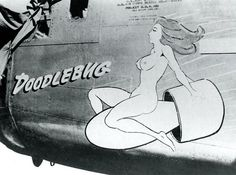 """Consolidated B-24D-25-CO Liberator 41-24223 of the 308th Bomb Group 375th Bomb Squadron. Nose Art """"Doodlebug"""""""