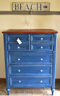 Painted with Chalk Paint™ decorative paint by Annie Sloan in Napoleonic Blue (a limited edition colour),  finished with Clear Wax (by Leisure Living Furniture)