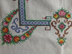 Beautifully stitched by hand representing many hours of work. Has a very neat green border design and the linen has been very neatly hemmed. I love the colours on this piece. It is good quality linen and only has the odd small mark which Ive tried to show in the photos.