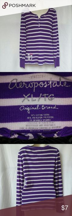 Aeropostale Thermal Longed Sleeved Shirt Sz Xl Jr Aeropostale Thermal Longed Sleeved Shirt Sz Xl Jr. Very nice thermal purple and white stripes gently used in good condition. Aeropostale Tops Tees - Long Sleeve