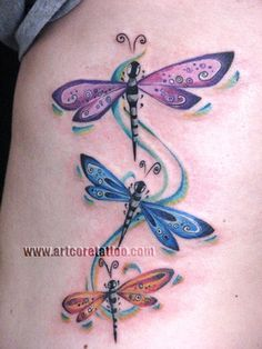 dragonfly tattoos - @Rhonda Alp Alp Devencenzi you could do this to represent the boys?? or just bc its cute! ;)