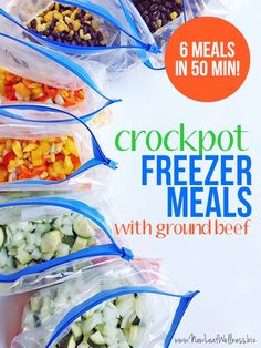 Crockpot Freezer Meals Made With Ground Beef.  (Free recipes and grocery list)  Make these next time ground beef is on sale!