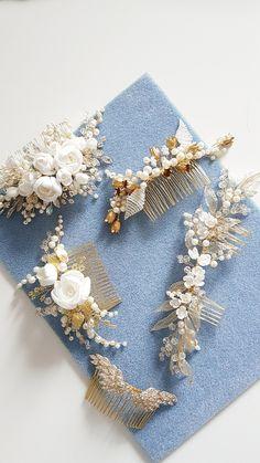 Ivory Gold Bridal hair comb, Gold Bridal headpiece, Bridal hair piece, Wedding hair piece, Wedding hair comb, Wedding headpiece