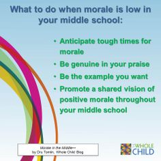 School morale is important at all levels. In middle school, it can sometimes be elusive, but remains essential and within reach. Dru Tomlin shares some tips on building morale in your middle school.