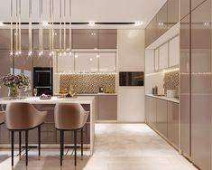 Simple Kitchen Design, Luxury Kitchen Design, Kitchen Room Design, Home Decor Kitchen, Interior Design Kitchen, Glossy Kitchen, Beige Kitchen, Modern Kitchen Interiors, Pantry Design