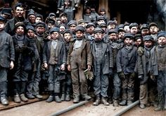 """Group of """"breaker boys"""" in colour. Child miners who worked separating coal from slate. Photographed in effort to ban child labor. South Pittston Pennsylvania. January 11 1910 [1252x1076] #HistoryPorn #history #retro http://ift.tt/1RUpz0b"""