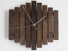 Wooden wall hanging clock wood dark coffee old silent by Paladim, $29.00