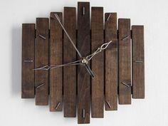 """Romb I 20x20cm (8x8"""") - Silent Black Wooden Wall Hanging Clock Wood Dark Coffee…"""