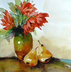 Aquarelles sur les boutons de fleurs, feuillage, goutte de rosée pur ... Corneliu Dragan-Targoviste