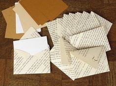 I love handwritten notes, recycling and the smell of books (new and old). This is the perfect combination.