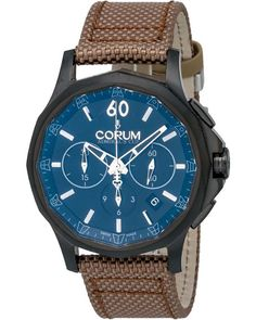 ShopWorn™ Admirals Cup Legend 42, 42 mm PVD Coated Stainless Steel Case, Hour, Minutes, Date, Sub Seconds, Chrongraph, Sapphire Crystal, Transparent Case Back, Corum Caliber CO 984, Leather Backed Fabric Strap, Includes Box and Papers, Includes ShopWorn 2 Year Warranty