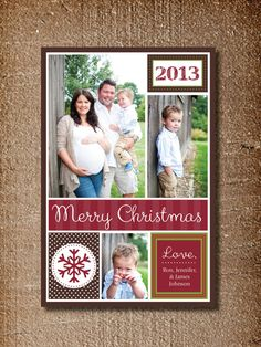 Photo Christmas Card Modern Holiday Card Collage by PinchOfSpice
