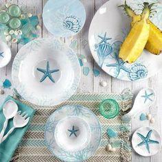 Melamine Dinnerware, China Dinnerware, Tableware, Beach Cottage Style, Beach House Decor, Linens And More, Coastal Decor, Coastal Cottage, Coastal Style